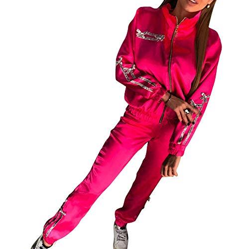 OEAK Damen Sportanzüge Jogginganzug Sexy Satin Reißverschluss Jacke Mantel Beiläufig Streifen Fitness Hose Freizeithose 2 Stück -