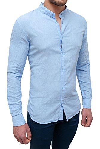 Camicia uomo sartoriale celeste in lino slim fit casual elegante (xl)