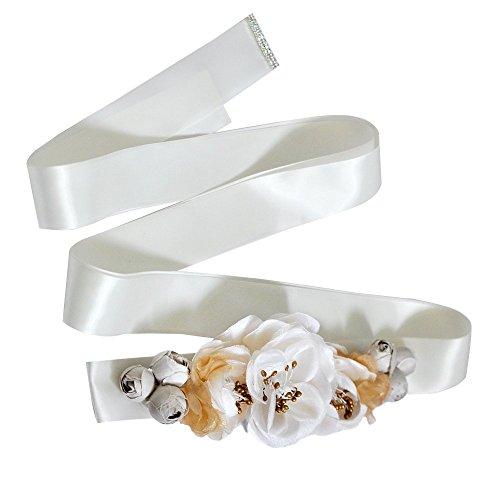 TOPQUEEN flor hecha a mano cinturones cinturones de cinturón de novia de la boda de la mujer hoja para la boda (blanco)