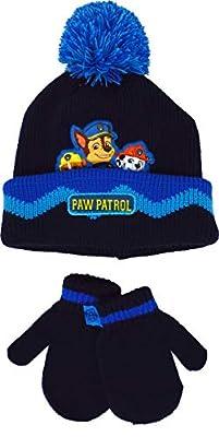 Paw Patrol Chase Marshall & Rubble - Juego de 2 gorros y guantes de invierno para niños