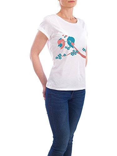 """Design T-Shirt Frauen Earth Positive """"Kissing Birds"""" - stylisches Shirt Tiere Liebe von Cheesy Bee Weiß"""