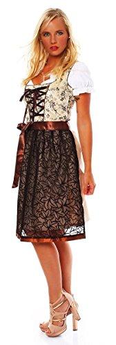 10592 Fashion4Young Damen Dirndl 3 tlg.Trachtenkleid Kleid Mini Bluse Schürze Trachten Oktoberfest Braun Beige Weiß