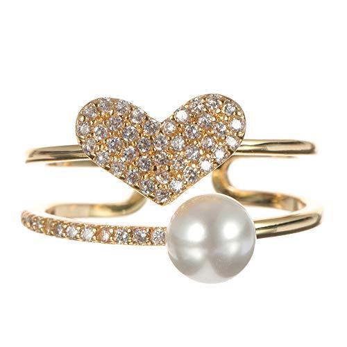 Double-layer Tunika (DDOQ Fashion Open End Ring 18 Karat Vergoldet Zirkonia Doppelschicht Herz Perle Ring für Frauen (Farbe : As Picture))