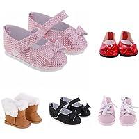 Blesiya 5 Coppio Scarpe Casuale Canvas Sneakers Sequins Bowknot Lacci Sportive Stile Per Bambola Accessori Cuoio HMRe0YEjO