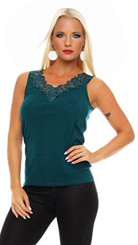 Hochwertiges Damen Träger-Top mit großer Spitze Nr. 416 (Oberteil / Unterhemd / Träger-Shirt) 100% Baumwolle ( Grün / 56/58 ) - 2