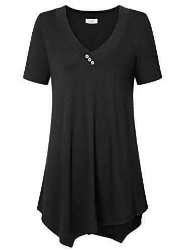 Ca Kra Damen Swing Kurzarm Tunika Tops Loose Fit ElegantT-Shirt (Schwarz XXXL)