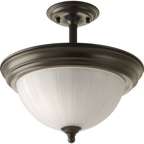 Progress Lighting P3876-20 2-Light Semi-Flush with Etched Glass, Antique Bronze by Progress Lighting (Antique Bronze Semi Flush)