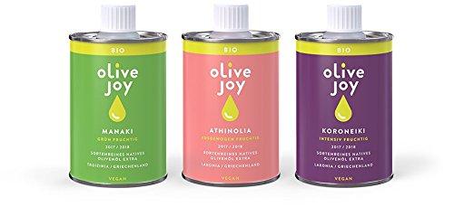 Natives Olivenöl extra von olive joy | Bio Taste-Box | 3 sortenreine griechische Olivenöle | Jahrgang 18/19 | kaltgepresst | vegan | Ideales Gourmet Geschenkset | 3 x 250ml Olivenoel Flasche