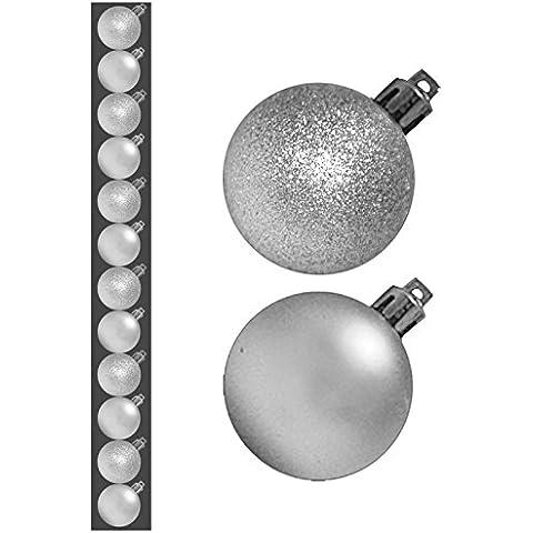 Mouse over immagine a zoom Hanno uno a Vendere? Sell It Yourself dettagli circa 12Argento Hanging rotondo classico glitter di Natale Decorazioni