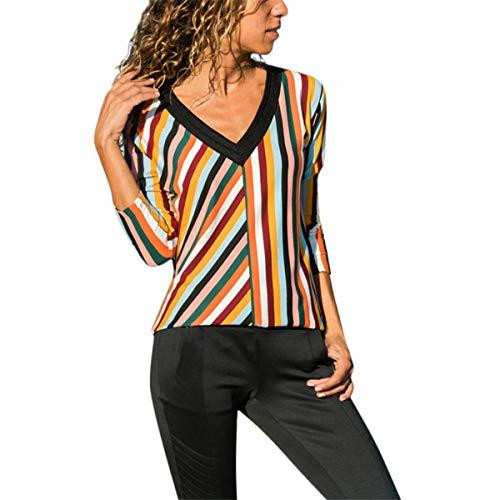 (B-commerce Mode Stripe T Shirt - Damen Casual V-Ausschnitt Langarm Farbblock Lose Neun-Punkt-Hülse Dünne Spitzenbluse)