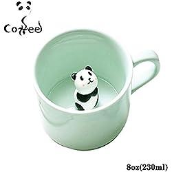 Tazas de cerámica, diseño con oso panda en 3D en el interior, cerámica, panda, 230ml (Panda)