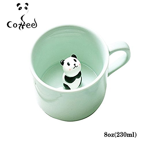 Tasses en céramique pour lait, café, thé–tasse pour petit déjeuner avec animal 3D, panda à l'intérieur. Cadeau idéal pour boisson du matin, ou pour les mariages, anniversaires, Céramique, 8oz (Panda)