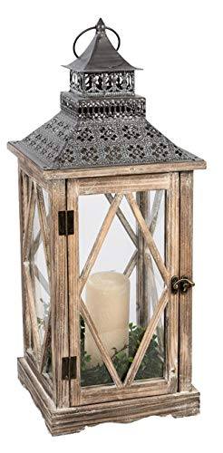 dekojohnson Orientalische Laterne Deko-Laterne Holzlaterne Bodenlaterne Vintage Antik Braun Rustikal Retro Lampe Metalldach 16x39cm