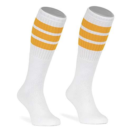 skatersocks 22 Inch Tube Socks weiß gelb gestreift Skater Socken für Damen und Herren mit Streifen