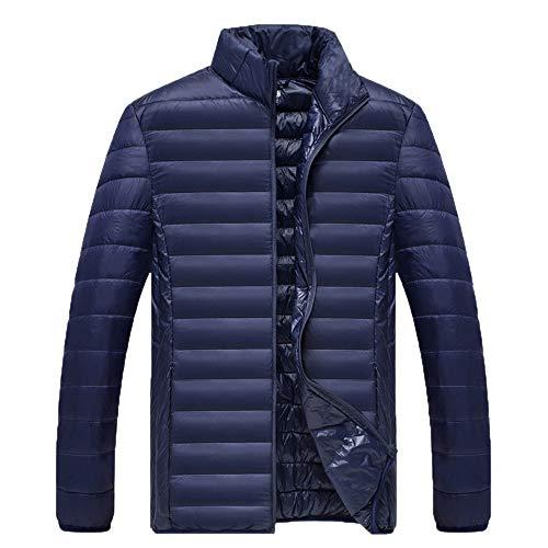 Xmiral Herren Jacke Mantel Winter Pure Color Faltbare Stehkragen Daunenjacke Overcoat (3XL,Marine)