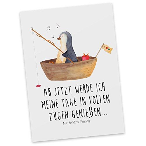 Mr. & Mrs. Panda Einladung, Karte, Postkarte Pinguin Angelboot mit Spruch - Farbe Weiß