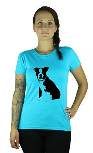 Guuja Damen T-Shirt Boston Terrier Welpe - Lustiges Shirt in c.Blue