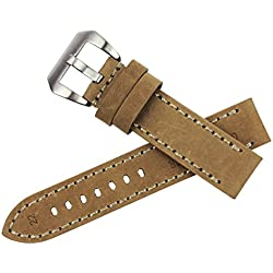 RECHERE Smooth Matt Leather Wristwatch Watch Band Strap Stitch Big Silver Brushed Pin Buckle (Beige 24mm)