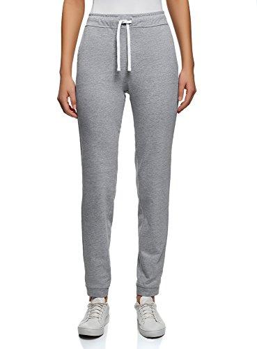 oodji Ultra Mujer Pantalones Básicos con Cordones, Gris, ES 38 / S