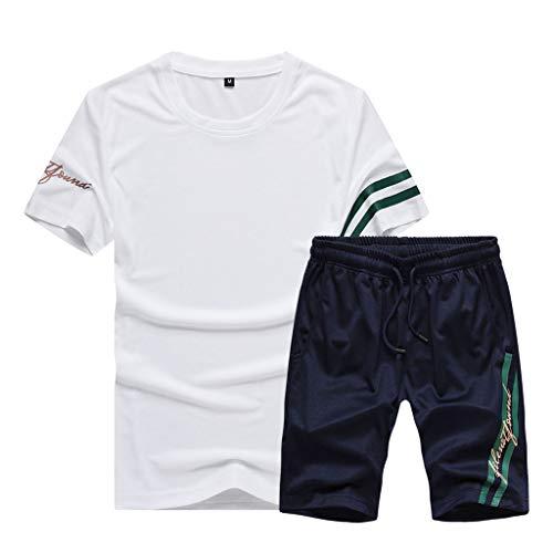 HHyyq 2 Stück Herren Sport Set Frühling Sommer Beiläufig Kurzarm Tops + Hosen Ausbildungsanzug Pyjama Large Size Stitching Print Sport Set(Marine,XXL)