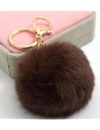 iyou fantaisie lapin fourrure boule plaqué or charme clé chaîne pour clé de voiture anneau bag-pink