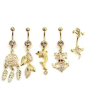 5 Stück Gold Bauchnabelpiercing Set Body Jewelry Piercing von Vcmart