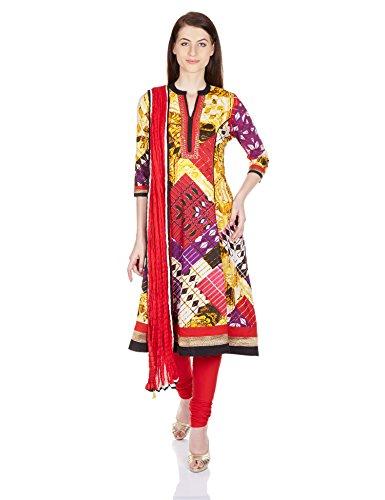 Rain and Rainbow Women's Anarkali Salwar Suit (SKD-4420-AW/18-28_Red_S)