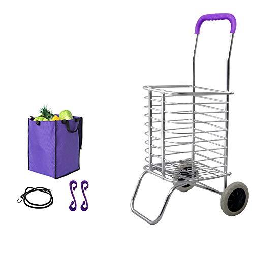 YOLL Luftfahrtaluminiumlegierung Einkaufstrolley Einkaufsroller Klappbar Einfach zu bedienen für Junge Leute geeignet Treppensteigen Supermarkt touristisches Picknick 360 ° Drehung,K