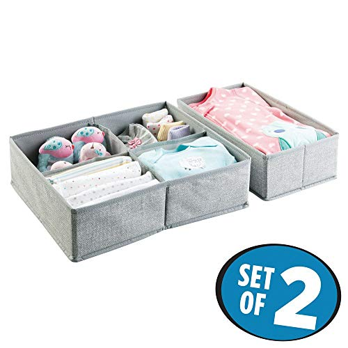 Juego de 2organizadores mDesign de tela para armario o cajón, el almacenamiento ideal para ropa de bebé o accesorios, caja de tela flexible reutilizable gris
