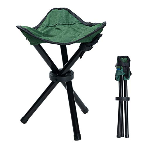 Covvy outdoor treppiedi sgabello portatile pieghevole piccolo 3-legged canvas chair per escursionismo camping pesca picnic beach bbq viaggi backpacking garden seat (verde)
