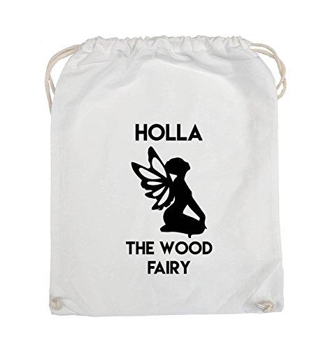 Borse Per Commedia - Holla The Wood Fairy - Turnbeutel - 37x46cm - Farbe: Schwarz / Pink Weiss / Schwarz