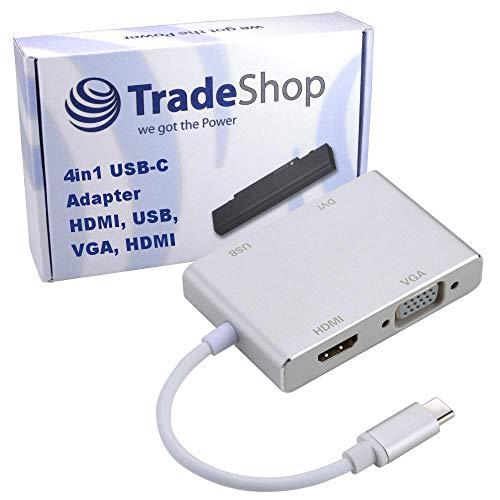 Trade-Shop 4in1 USB-C Typ C Adapter 4K HDMI/DVI / 1080p VGA/USB OTG MHL für HTC U11 Life U11+ U12+ Huawei Honor 10 View10 Mate 10 Pro Mate 9 Pro P20 Lite Pro LG G7 ThinQ Vernee X Motorola Moto G6 Z3