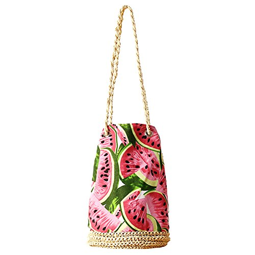Butterme Spiaggia mare carino frutta tessuto borsa a bottone Borsa a tracolla Hobo Piccolo sacchetto di spalla di paglia per le ragazze delle donne
