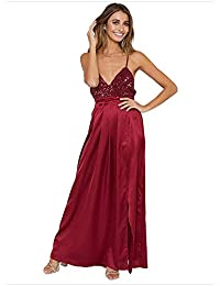 c7cab41ce Las mujeres correas espaguetis vestido de noche sin mangas Sumergirse con  cuello en v sin espalda