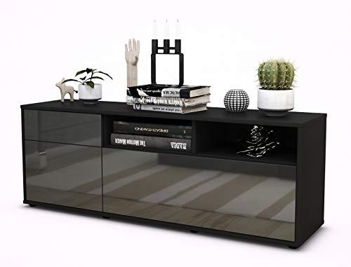 TV Schrank Lowboard Amisa, Korpus in anthrazit matt / Front im Hochglanz Design Grau Graphit (135x49x35cm), mit Push to Open Technik und hochwertigen Leichtlaufschienen, Made in Germany