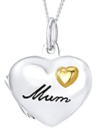 Ornami Sterling Silver Gold Plated Heart Locket Best Friends Forever Message with Chain of 46cm