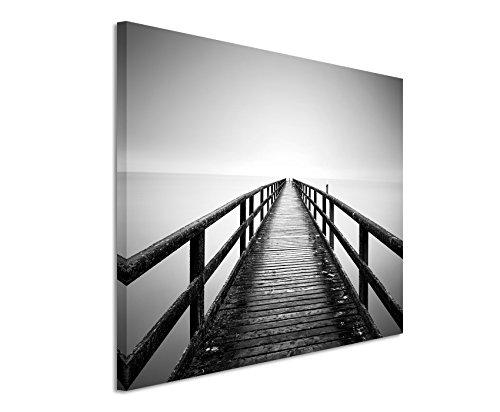 Paul Sinus Art Kunstfoto auf Leinwand 60x40cm Landschaftsfotografie - Sassnitzer Pier, Rügen auf Leinwand Exklusives Wandbild Moderne Fotografie für Ihre Wand in Vielen Größen