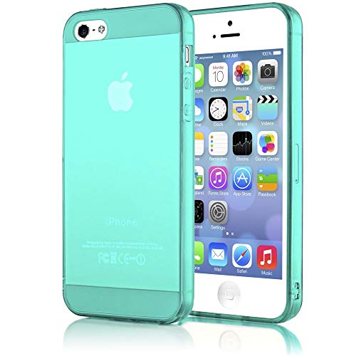 mpatibel mit iPhone 5 5S SE, Ultra-Slim Silikon Case Cover Schutzhülle Dünn Durchsichtig, Handy-Tasche Telefon-Schale Skin Back-Cover Smart-Phone Bumper - Türkis/Grün Transparent ()
