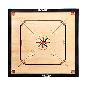 GSI Superior Matte Finish Large Carrom Board for Family Friends and Adults with Coins Striker and Boric Powder, Beige (Large 32 inch 4mm)