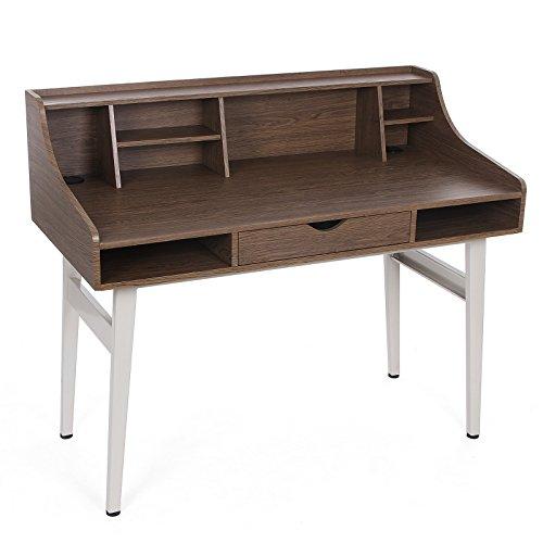 Songmics Schreibtisch Sekretär Computertisch mit Schubladen pc tisch MDF 120 x 100 x 60 cm (B x H x T) nussbaumfarben LCD565Z