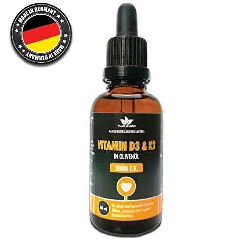 Vitamin D3 2000 IE und Vitamin K2 Tropfen in hochwertigem nativem Olivenöl - 50ml Vorratspackung made in Germany, HOCHDOSIERT, ohne Farb- oder Konservierungsstoffe