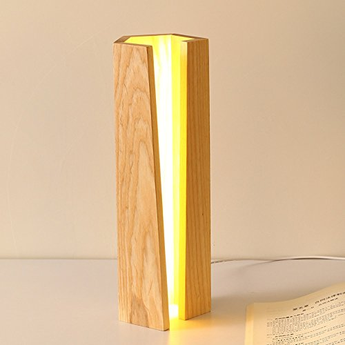 Rishx Moderne minimalistische Rechteck Holz LED Tischleuchten geometrische Holzsockel Schreibtisch Lampen Schlafzimmer Nachttischlampe Esszimmer Wohnzimmer Desktop-Leuchte -