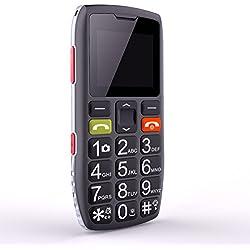 Téléphone Portable Senior Débloqué avec Grandes Touches, Bouton SOS, Artfone C1 Senior,caméra VGA,Radio FM,Haut-Parleur de Boîte,Batterie 1400mAh, Noir