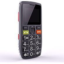 Telefono GSM per persone anziane, ARTFONE C1 Senior, telefono dual sim con tasti grandi e facile da usare, dotato di pulsante per le emergenze e tastiera retroilluminata.Nero