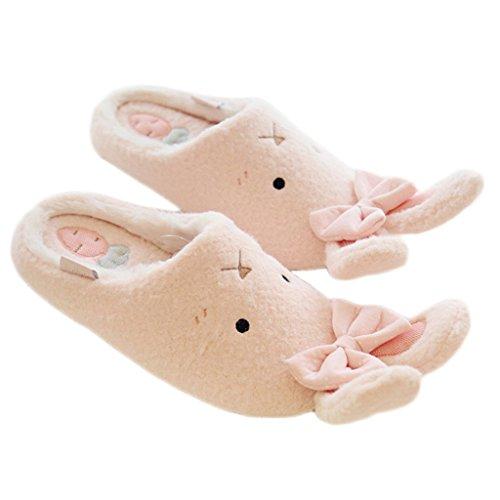 Fortuning's JDS Donne delle signore delle ragazze Accogliente vello casa Calzature arco Bello Coniglio comodo pantofole Rosa