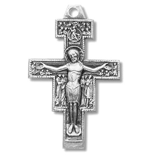 Sterling Silber San Damiano Jesus Kruzifix Kreuz Anhänger, 2,5cm
