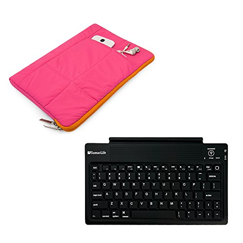2in 1gemütlichen gesteppt Sleeve Cover Schutzhülle für Acer Switch/Iconia One/Iconia Tab/Iconia A/Aspire Switch + Bluetooth Wireless Tastatur rosa rose 10 Zoll (25,4 cm) (Notebook-tragetasche Gesteppte)