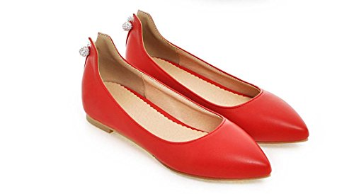Jelly Flat Shoes Diamond Block Heel Pointed Toe Shallow Mouth Cuir Solid Color OL Office Safety Shoes Red