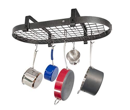 Enclume PREMIER low-ceiling Oval Topf Rack, Stahl Hammerschlag Enclume Oval Pot Rack