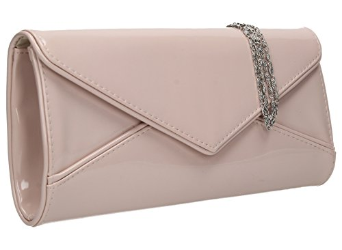 SwankySwans Perry Damen-Handtasche, Clutch, Briefumschlag-Stil, Lackleder - Pinky Nude (Patent Clutch White Leather)